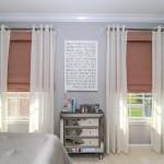 Blush Roman Shades & Grommet Sheers | Monroe NJ | Distinctive Interior Designs
