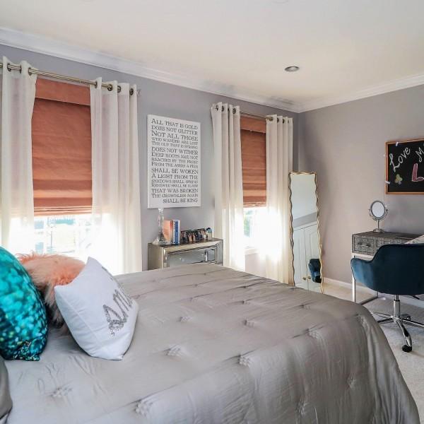 Grey & Blush Teen Oasis | Monroe NJ | Distinctive Interior Designs