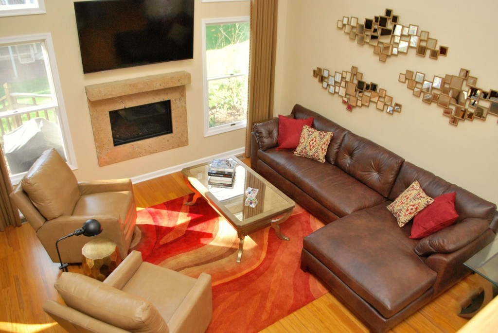 Contemporary Red Gold Brown Living Room