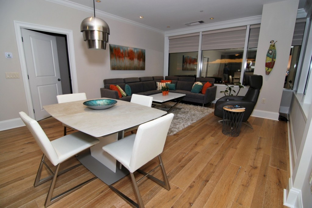 Phily contemporary city condo living and dining areas