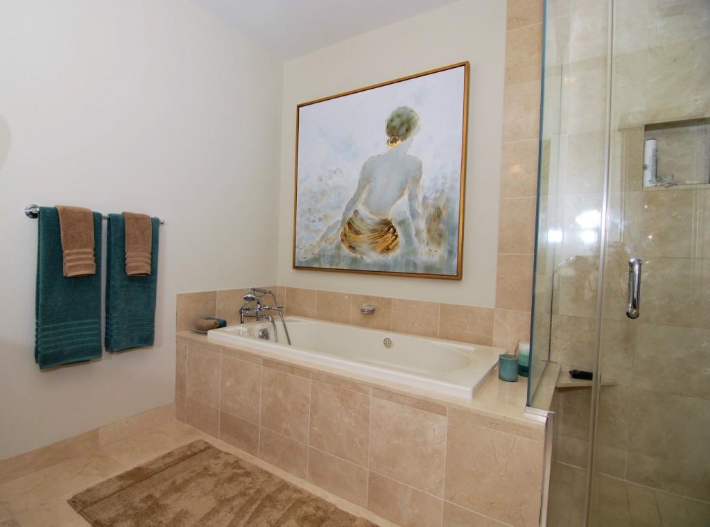Phily contemporary city condo master bath uttermost art