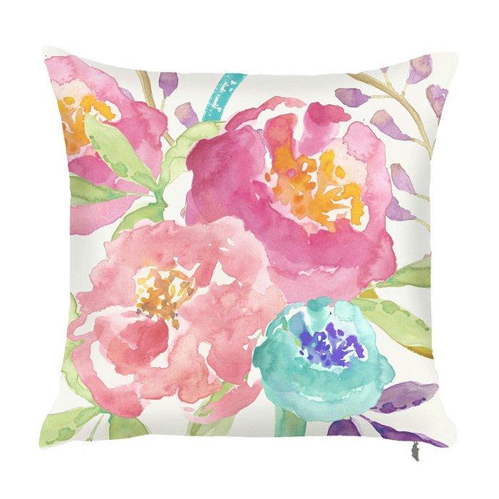Spring+Bright+Floral+Arrangement+Throw+Pillow