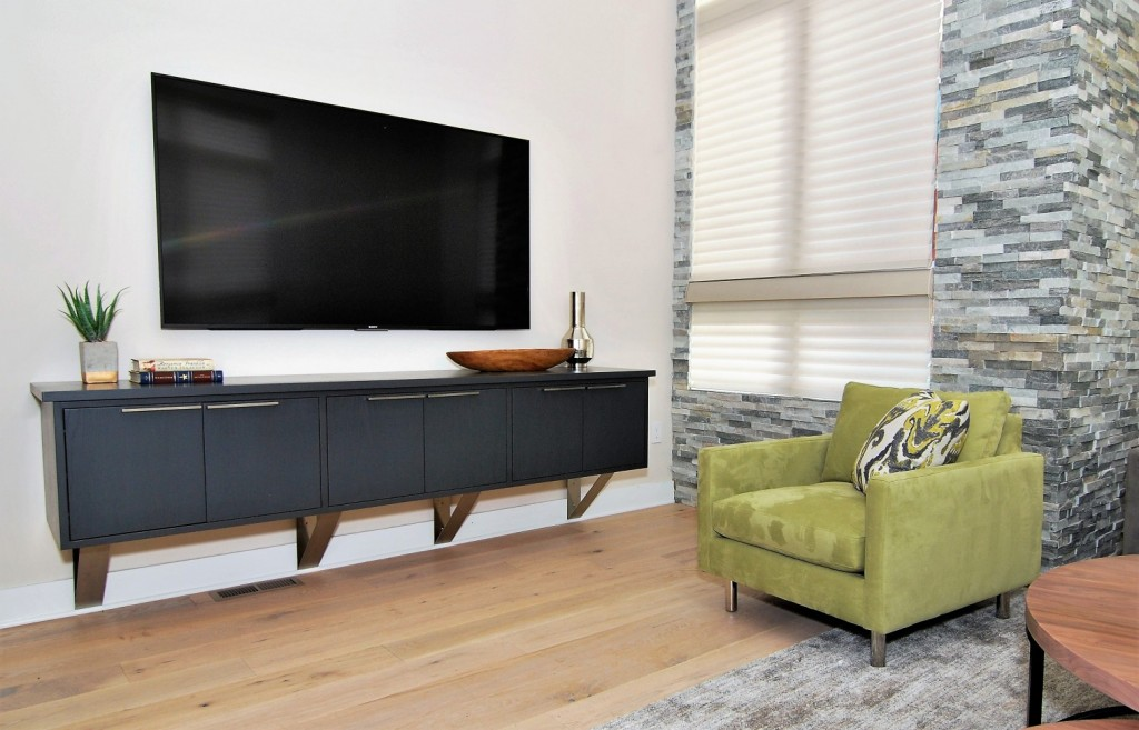 Urban Loft Black Floating Console | Philadelphia PA | Distinctive Interior Designs LLC