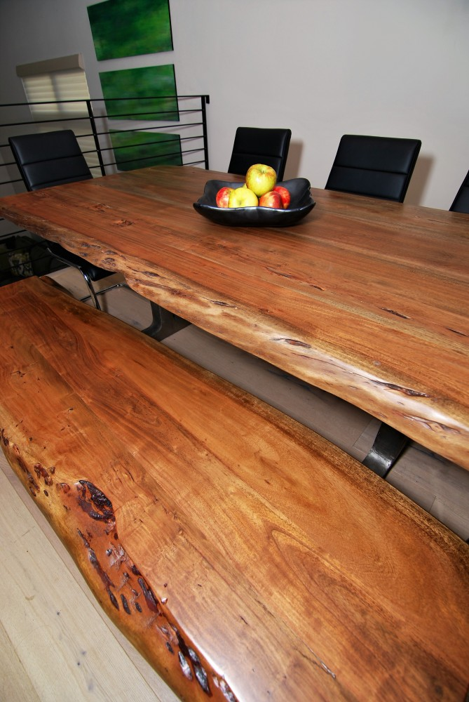 Urban loft dinette live edge table and bench 2