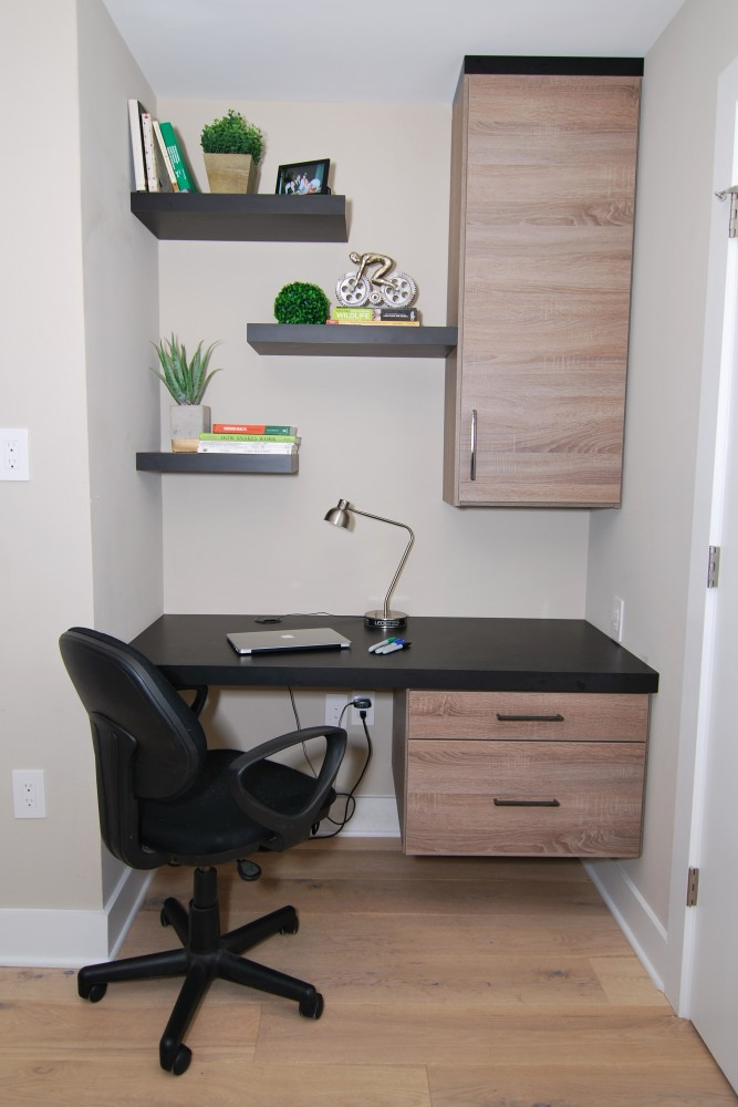 Urban loft floating black shelf custom built-in desk