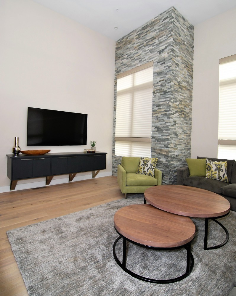 Urban loft ledger stone great room