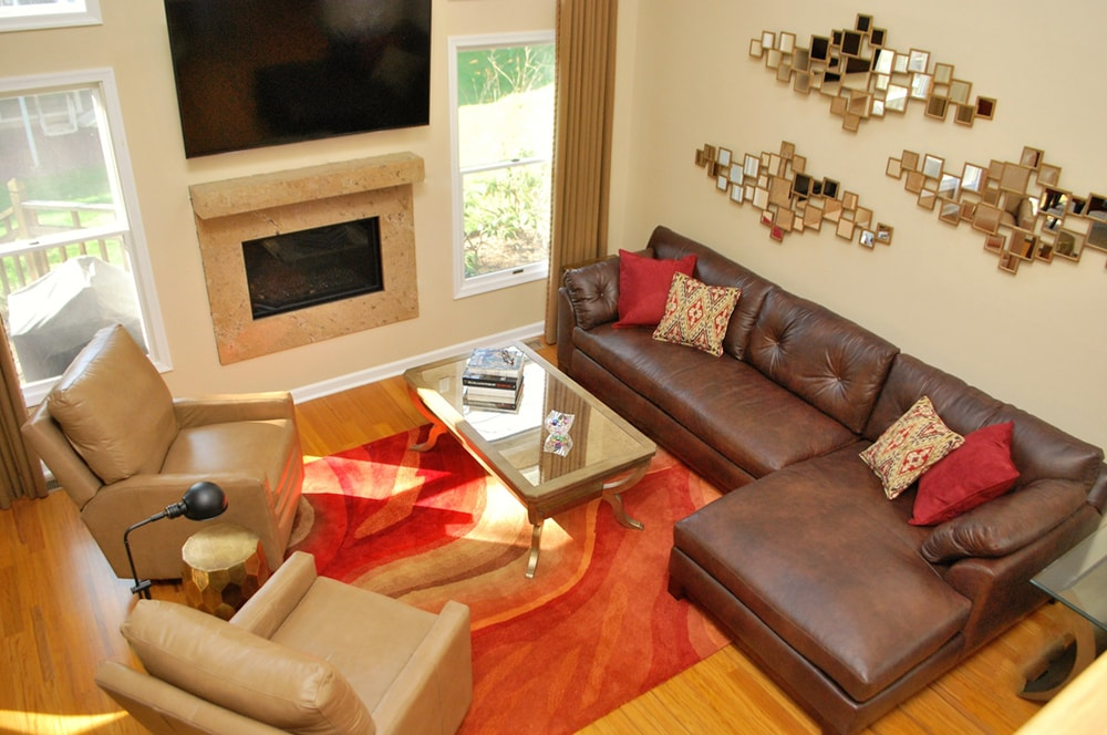 contemporary living room fireplace by Distinctive Interior Designs design firm for NJ and Philadelphia