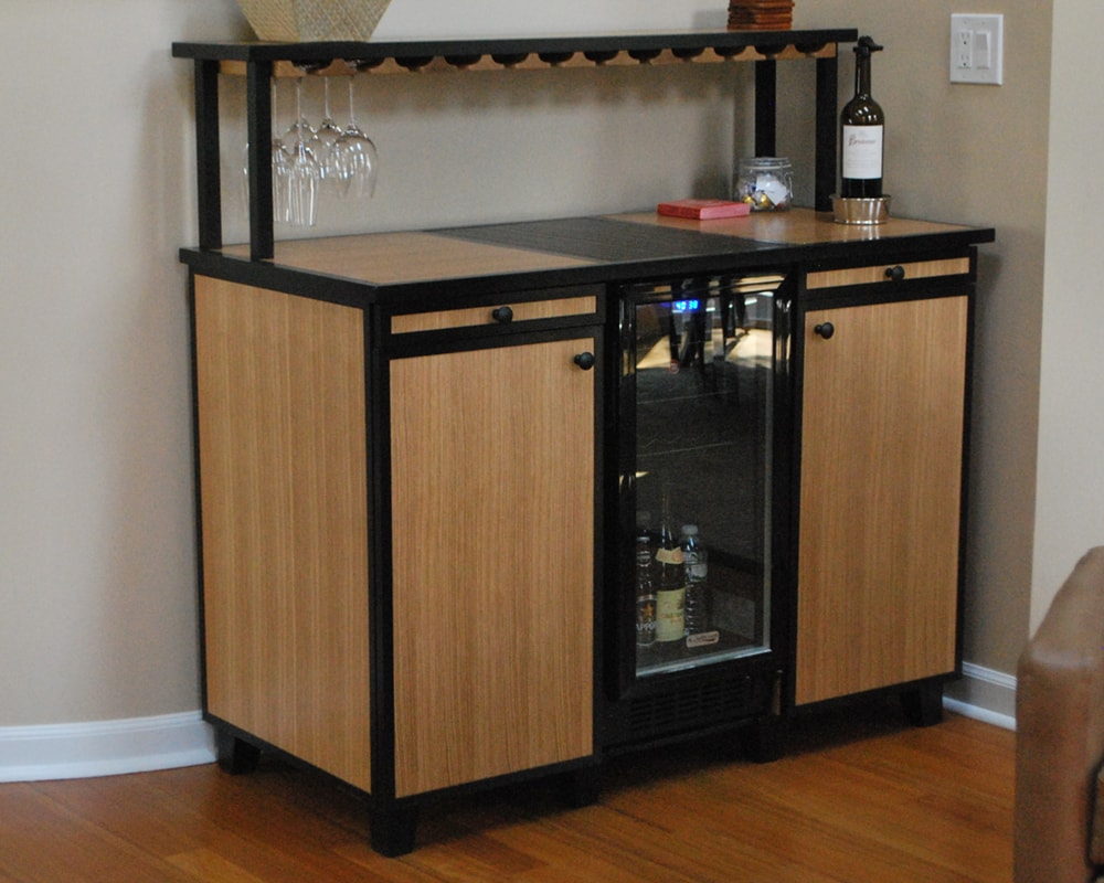 Custom built home bar with fridge by top NJ and PA interior design firm Distinctive Interior Designs