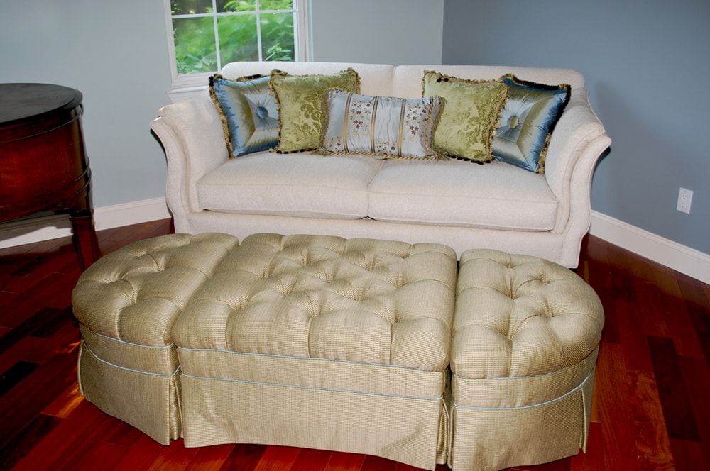 Custom built storage ottoman by top NJ full service interior design firm Distinctive Interior Designs