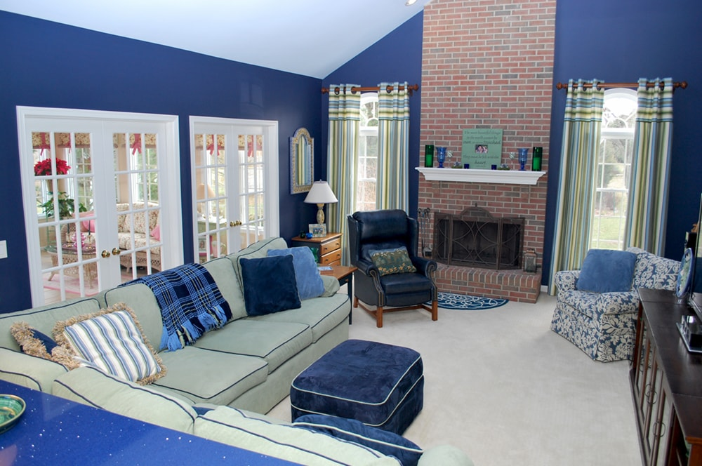 Family Room With Brick Fireplace By NJ And Philadelphia Interior Design  Firm Distinctive Interior Designs