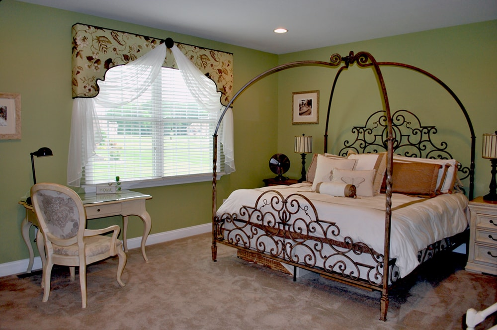 Master bedroom custom window treatments by South Jersey and Philadelphia interior design firm Distinctive Interior Designs