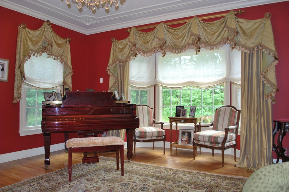 Living Room With Piano And Custom Window Treatments By Philadelphia And NJ  Interior Designer Distinctive Interior