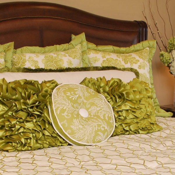 Master bedroom decorative bed pillows by NJ interior design firm Distinctive Interior Designs