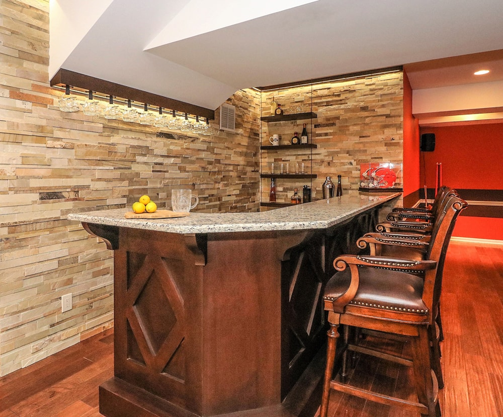 Man Cave Ledger Stone Bar | Monroe NJ | Distinctive Interior Designs