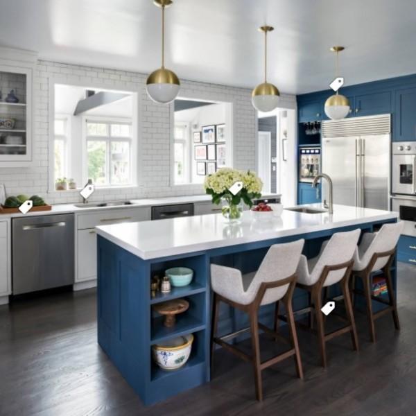 Houzz Navy White Kitchen Inspiration | Haddon Heights NJ | Distinctive Interior Designs