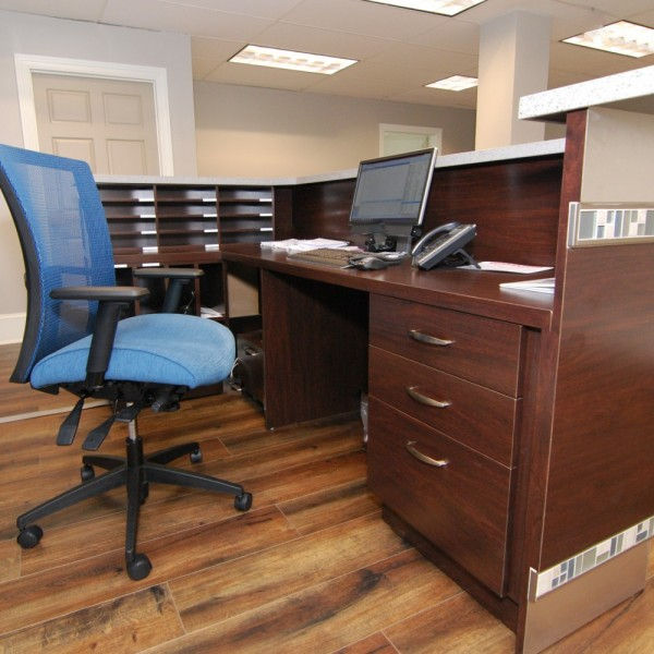 Custom Designed Corporate Desk Details| Cherry Hill, NJ | Distinctive Interior Designs