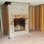Family room fireplace raw NJ interior design firm project Distinctive Interior Designs