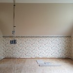 Master Bathroom before photo with wall out NJ Distinctive Interior Designs