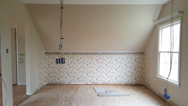Master Bath before with wall out