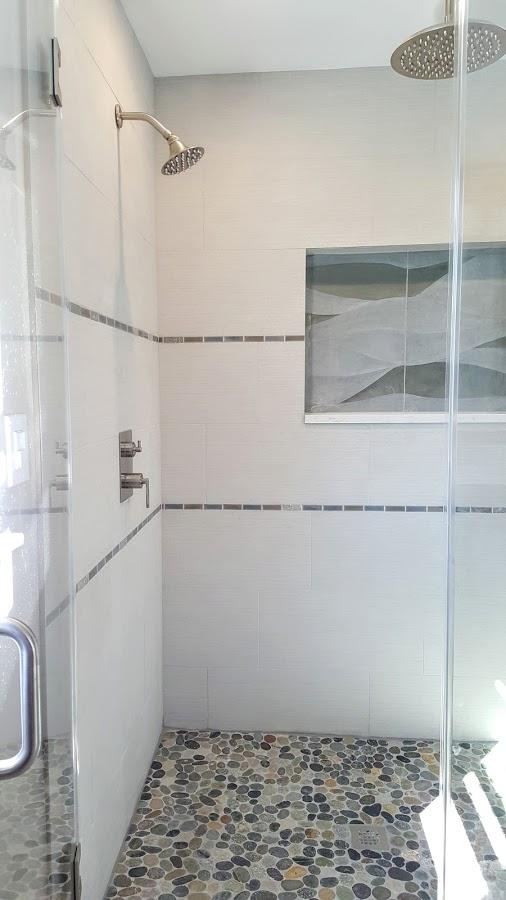 Master Shower Wave And Pebble Tile   Cranbury NJ   Distinctive Interior  Designs