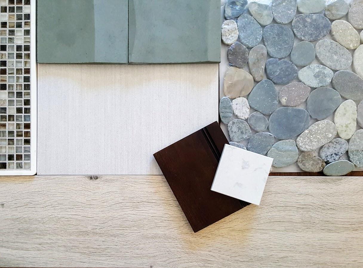 Great Blue Green Tile Combo Master Bath | Cranbury NJ | Distinctive Interior Designs