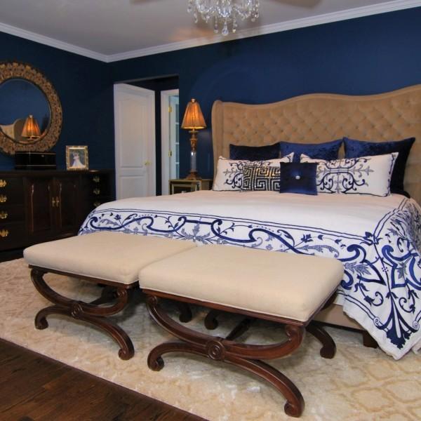 Elegant Navy & White Master Bedroom | Skillman NJ | Distinctive Interior Designs