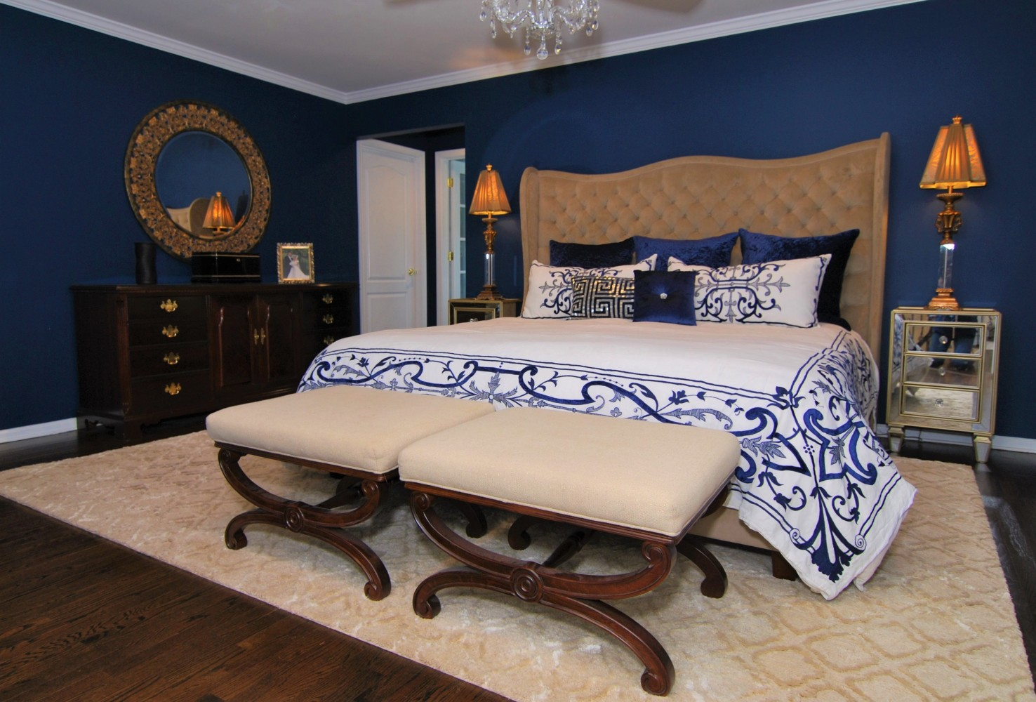Elegant Navy & White Master Bedroom | Skillman NJ | Distinctive Interior Designs