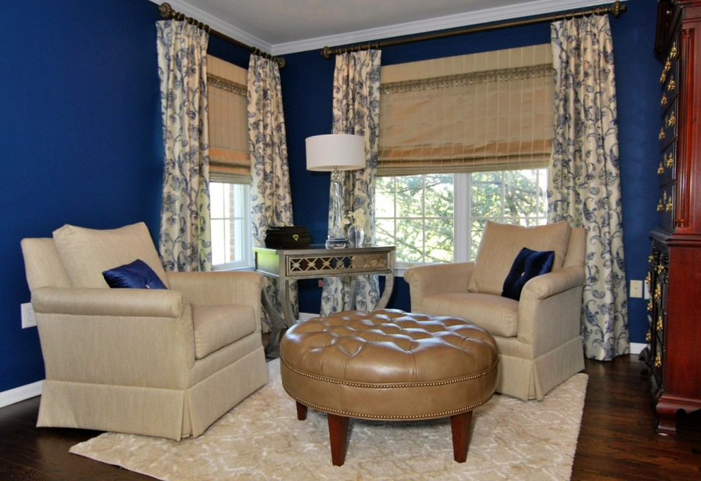 Navy and tan master sitting area