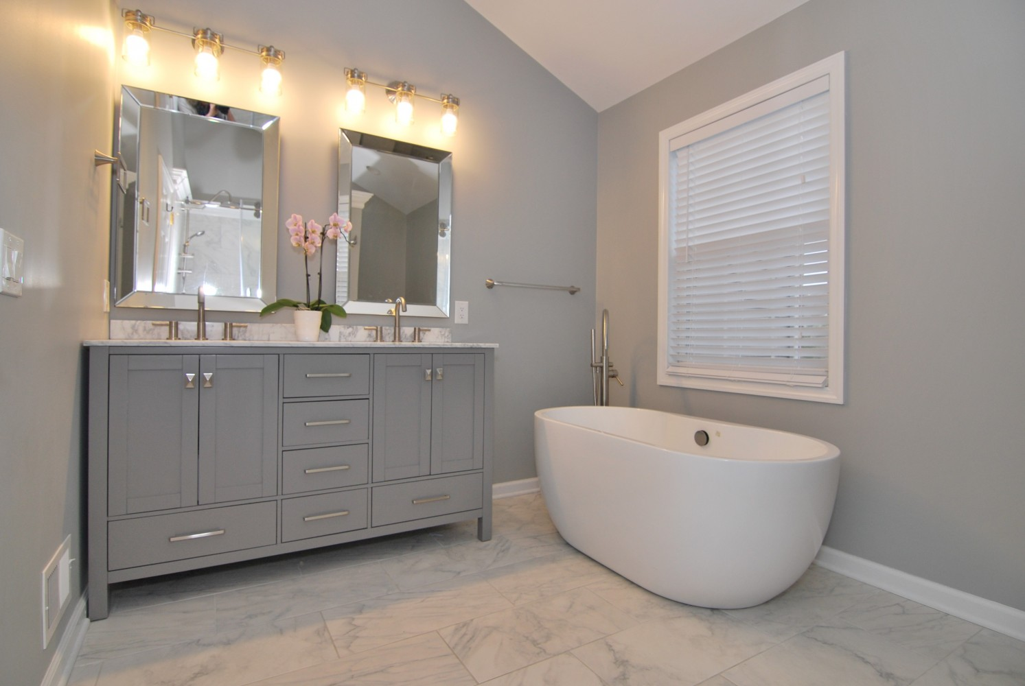 60 in grey Houzz caroline vanity | Pennington NJ | Distinctive Interior Designs
