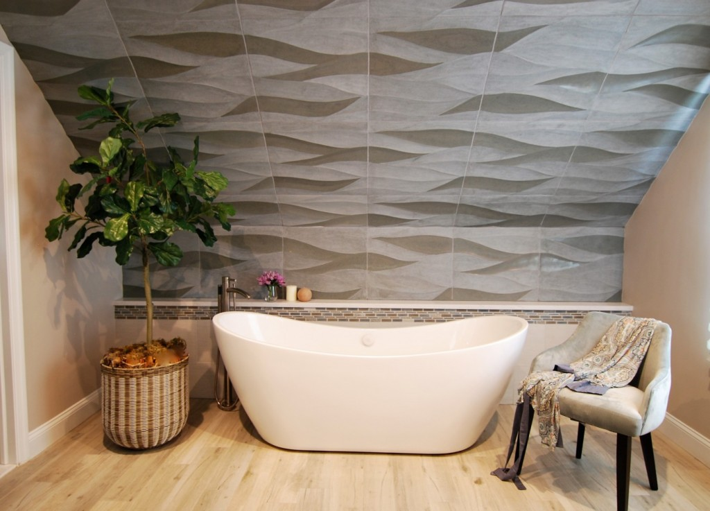 Wave Tile wall freestanding tub