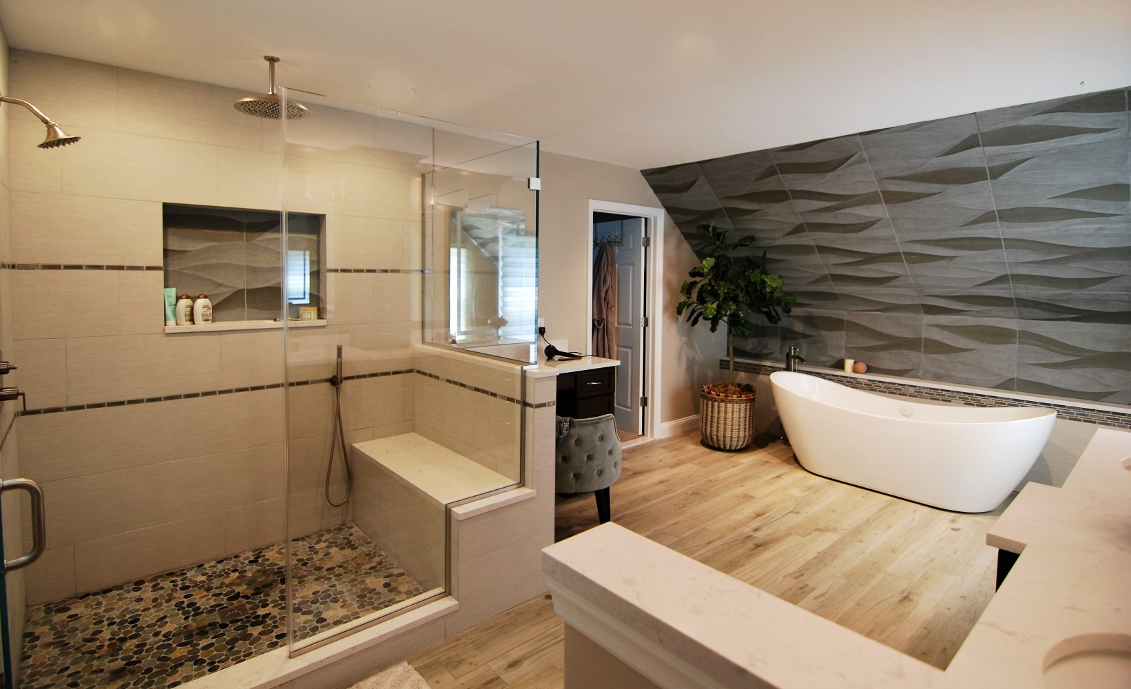 elegant Master Bath Wave Tile | Cranbury NJ | Distinctive Interior Designs