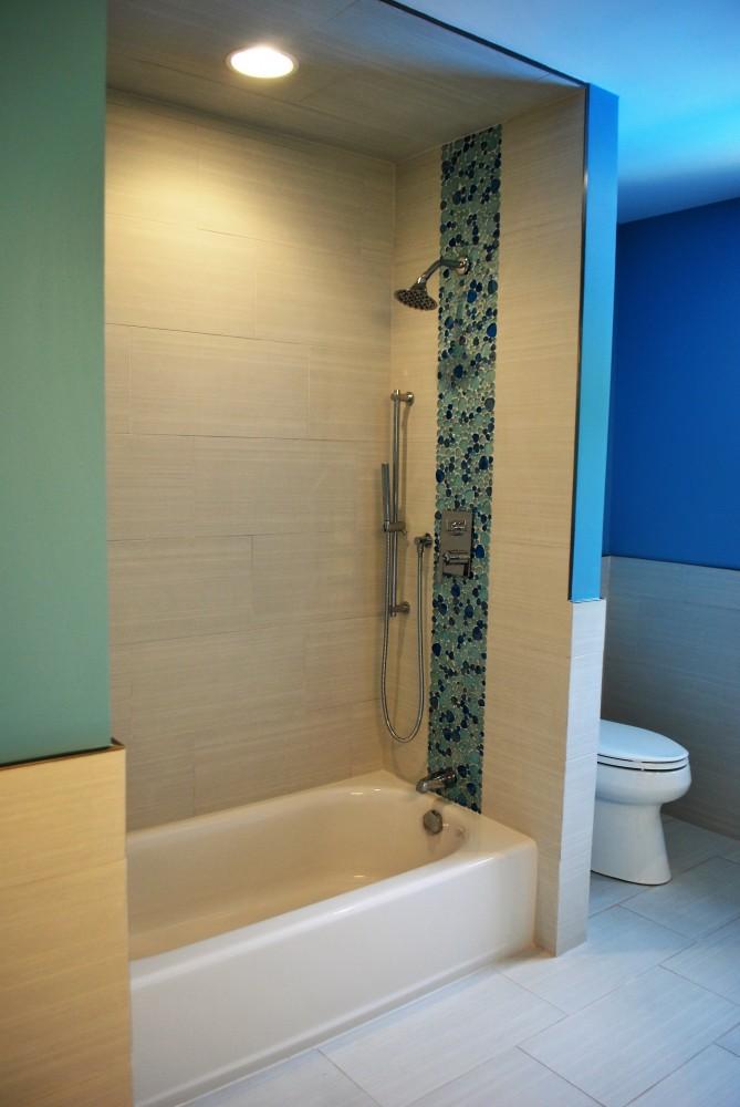 Blue Bubble tile and linen texture shower