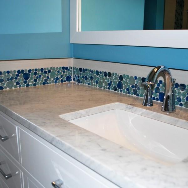 Blue Bubble Tile Carrara Counter | Cranbury NJ | Distinctive Interior Designs