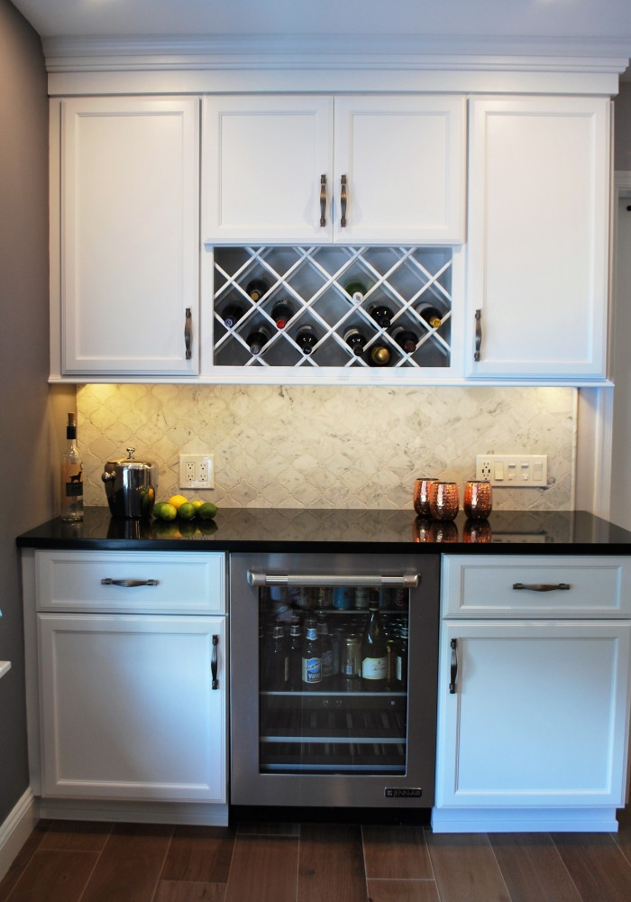 White Custom Bar Winefridge | Cranbury NJ | Distinctive Interior Designs