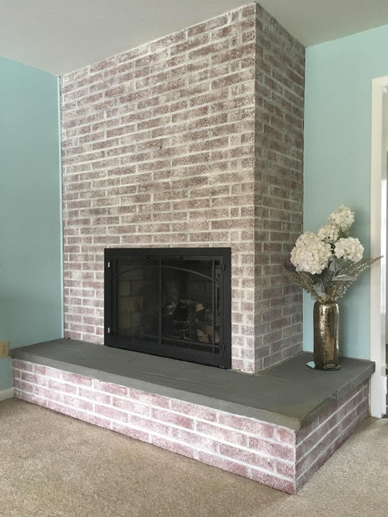 fireplace brick whitewash