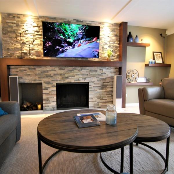 Stacked Stone Fireplace | Cherry Hill NJ | Distinctive Interior Designs