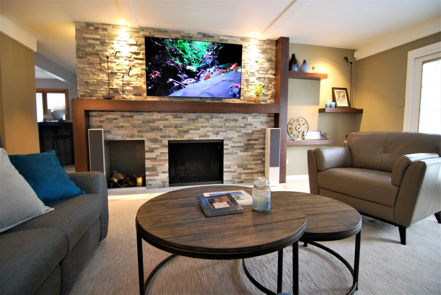 Stacked Stone Fireplace | Cherry Hill NJ | Distinctive Interior Designs