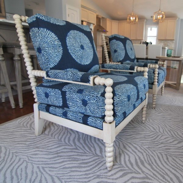 Beach Style Navy Chairs | Cape May NJ | Distinctive Interior Designs