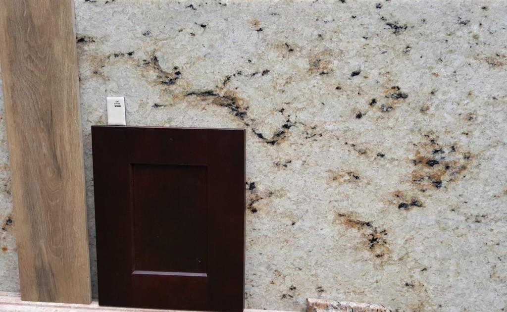 Dark wood cabinet bisque bath fixtures colonial gold granite