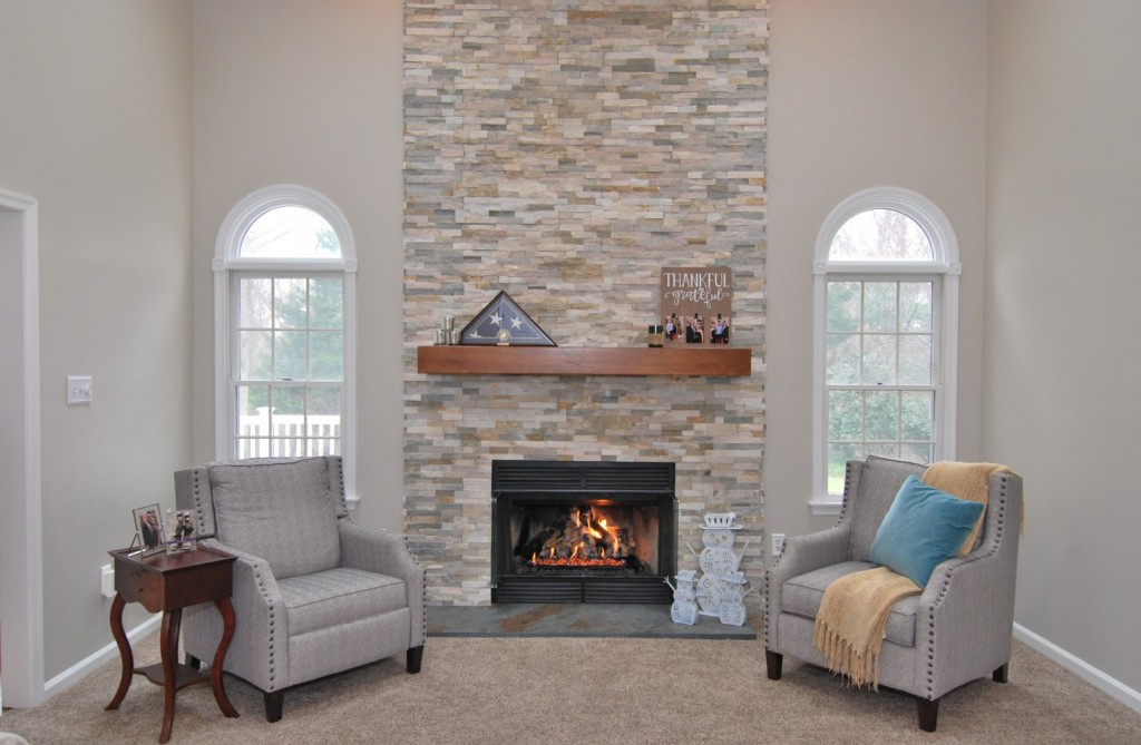 Family Room Transitional style fireplace