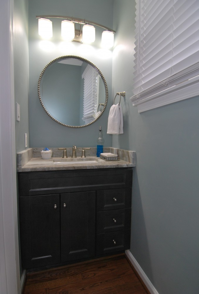 Powder Room with Fantasty Brown Counters