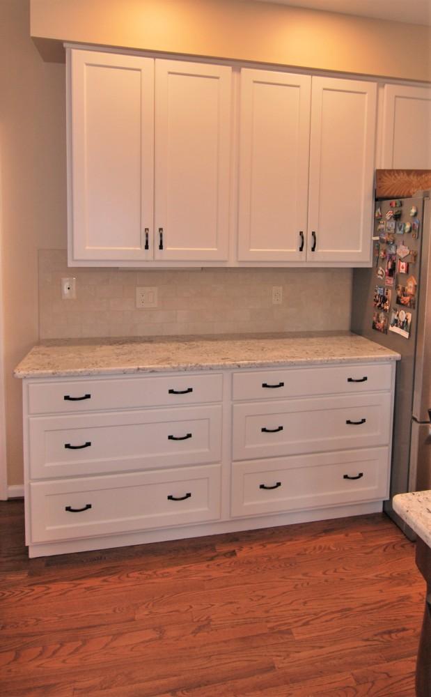 Refaced Kitchen Deep Drawer bank Fantastic White Granite