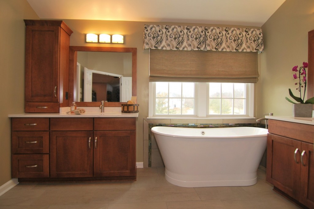 Transitional Master Bath, Freestanding Tub, Ikat Valance and Woven Wood Shade