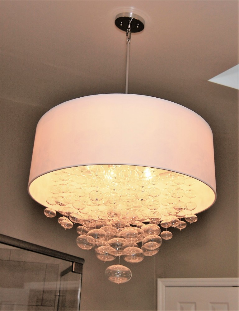 Bubble glass with drum shade transitional chandelier