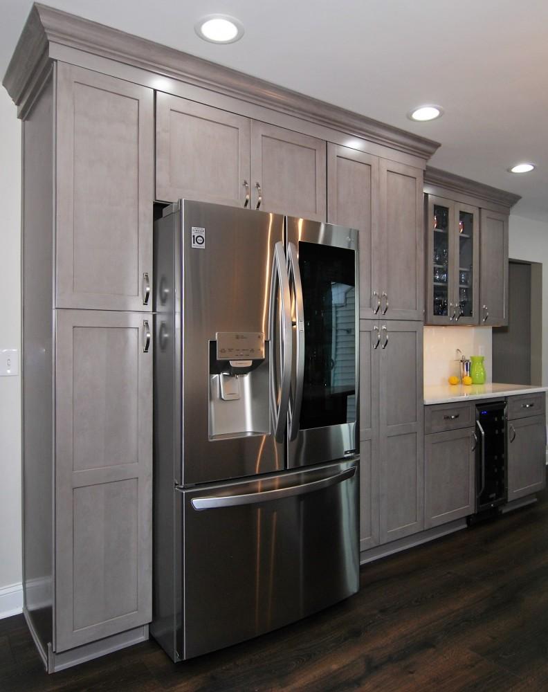 Grey Galaxary Horizon Fabuwood Kitchen Beverage center and pantry