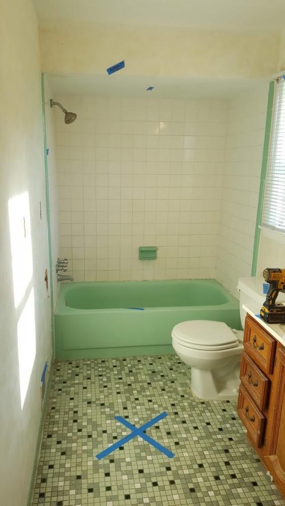 Hall Bath with 1960s tile