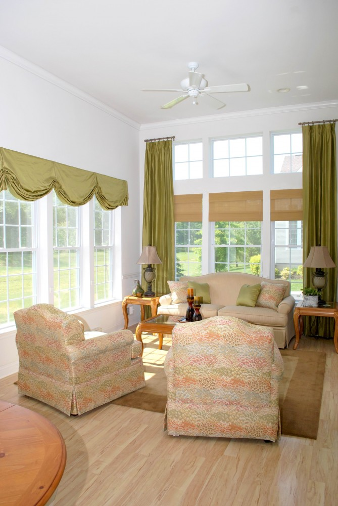 Lime Custom London valance with Double Story drapes