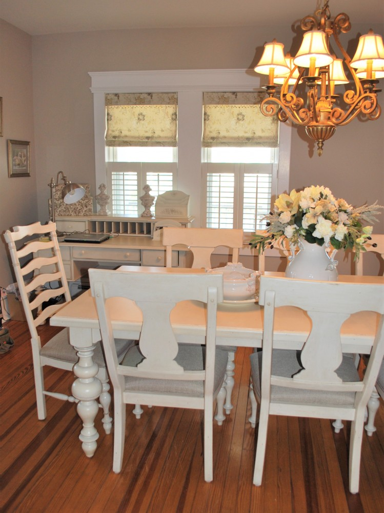 Taupe & Cream Beach House Dining Room with Roman Shades & Cafe Shutters