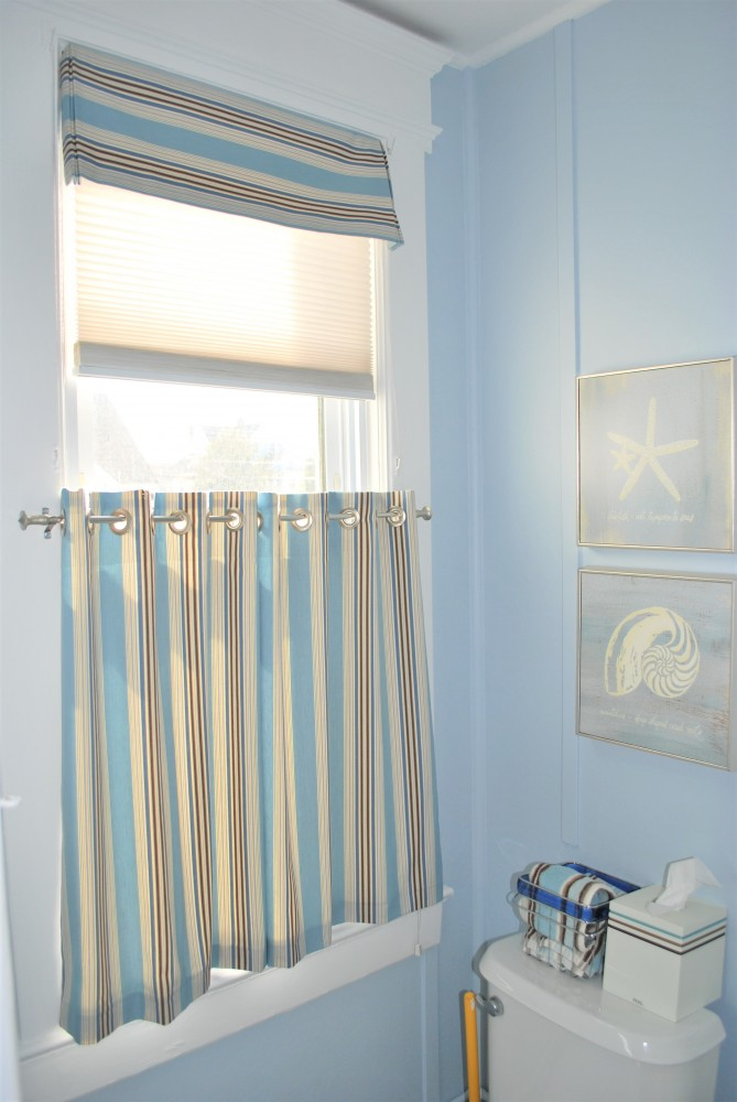 Nautical Kick Corner valance with Grommet topped cafe curtain