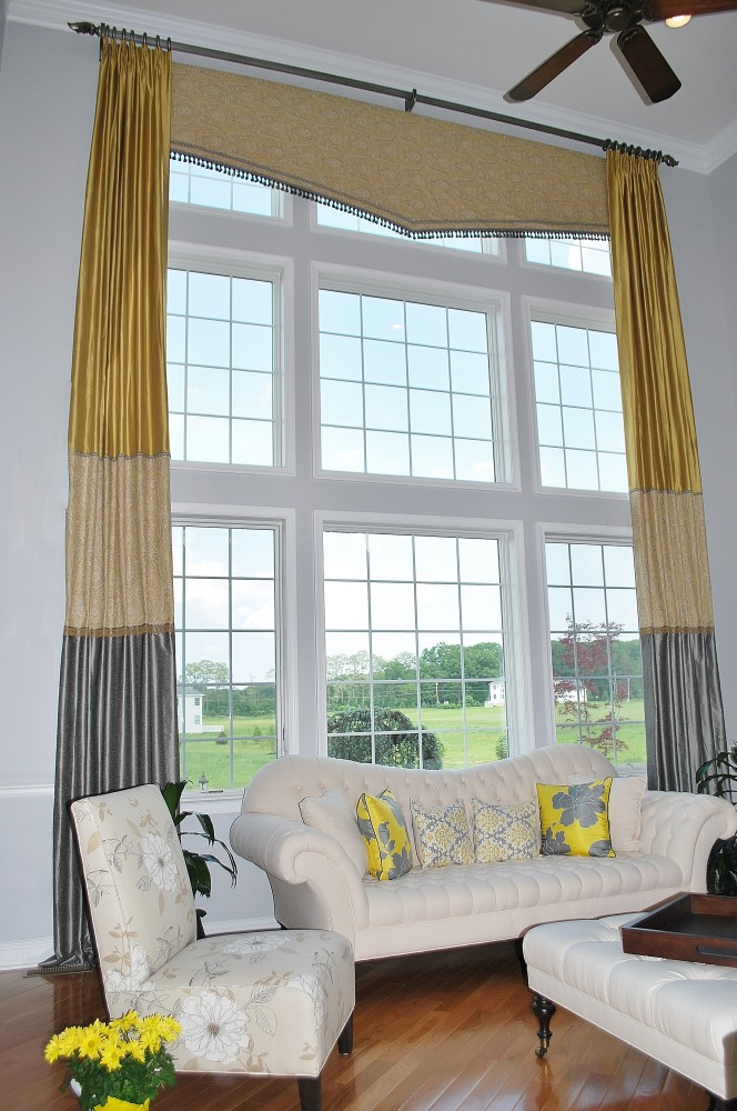 Yellow & gray double story color blocked drapes with valance